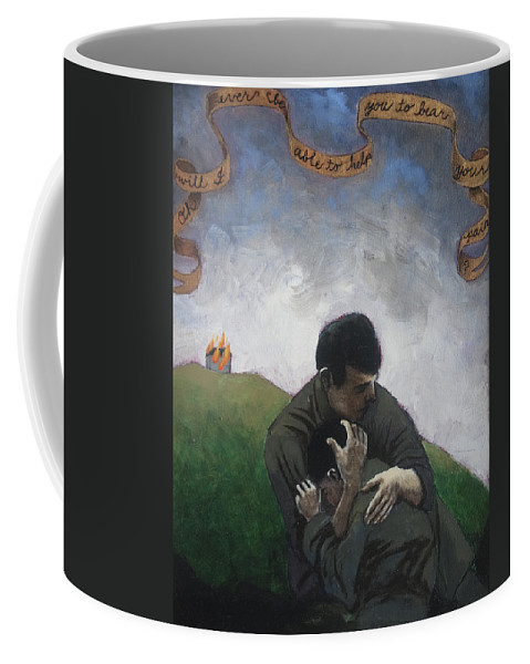 Men Coffee Mug featuring the painting Oh Will I Ever Be Able To Help You To Bear Your Pain by Pauline Lim