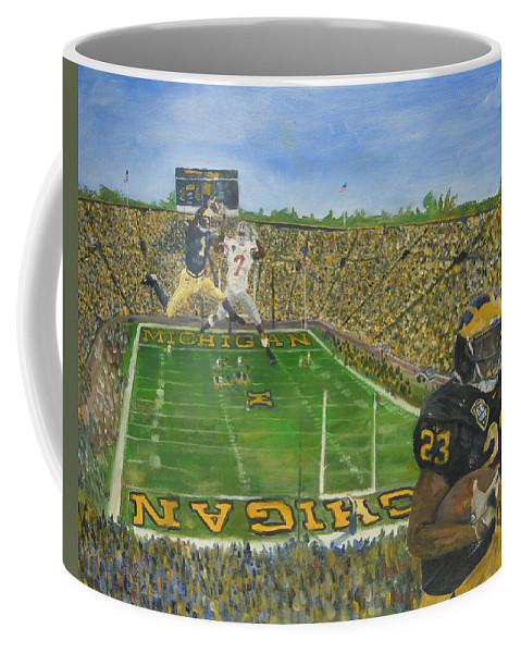 Michigan Coffee Mug featuring the painting Ohio State vs. Michigan 100th Game by Travis Day