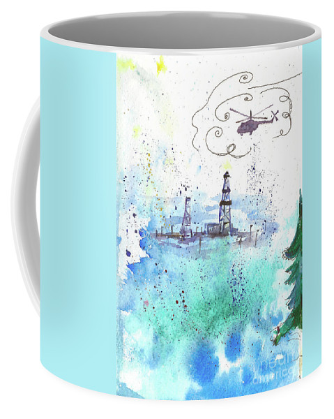 Drilling Coffee Mug featuring the painting Oil Drilling by Yana Sadykova