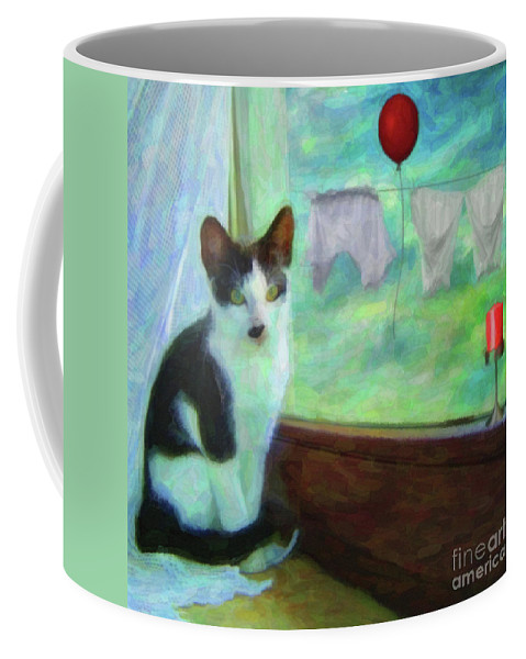 Ok I'll Pose Coffee Mug featuring the painting Ok I'll Pose - Painting - By Liane Wright by L Wright