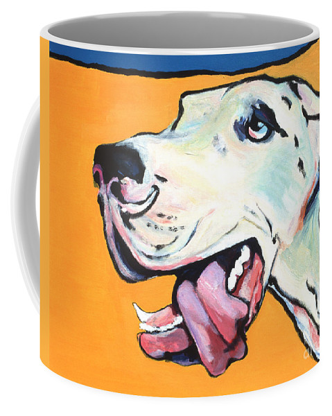 Commissioned Pet Portraits Available Coffee Mug featuring the painting Ol' Blue Eye by Pat Saunders-White