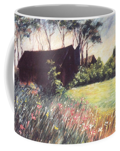Barn Flowers Wildflowers Coffee Mug featuring the pastel Old Barn And Wildflowers by Pat Snook