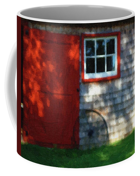 Autumn Coffee Mug featuring the painting Old Barn New Paint by RC DeWinter