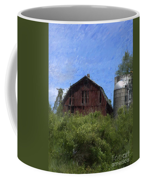 Old Barn Coffee Mug featuring the photograph Old Barn On Summer Hill by David Lane