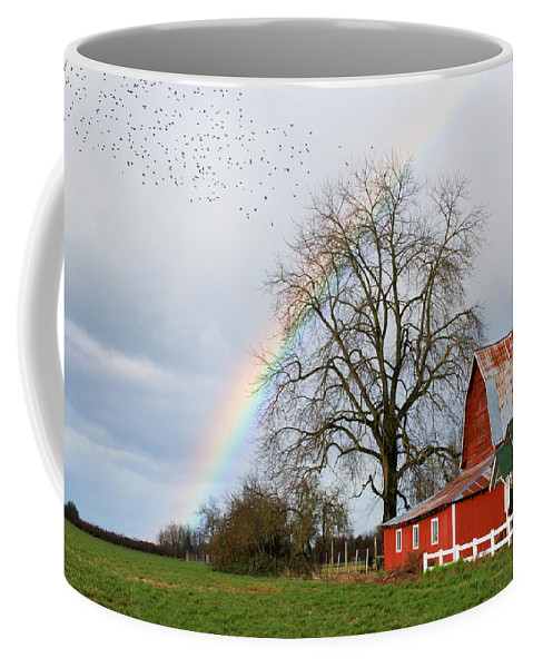 Flying Coffee Mug featuring the photograph Old Barn Rainbow by Randall Ingalls
