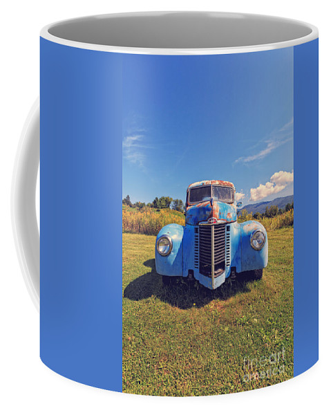 Stowe Coffee Mug featuring the photograph Old Blue Truck Vermont by Edward Fielding