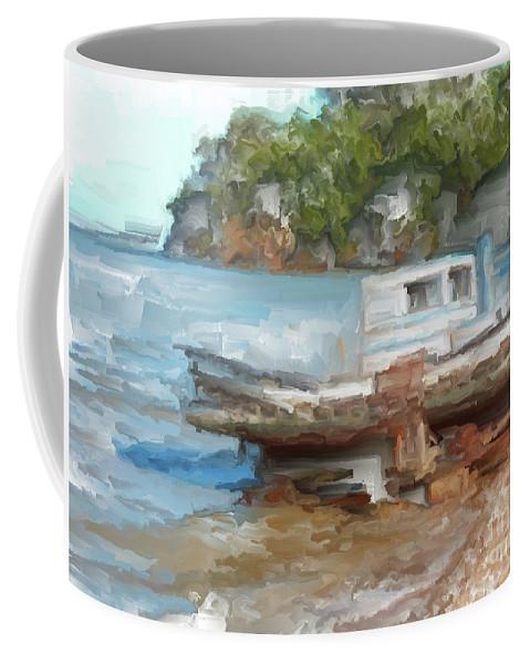 Old Boat At China Camp Coffee Mug featuring the painting Old Boat At China Camp by Methune Hively