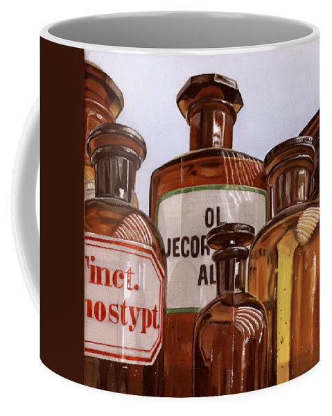 Vintage Coffee Mug featuring the painting Old Bottles by Rob De Vries