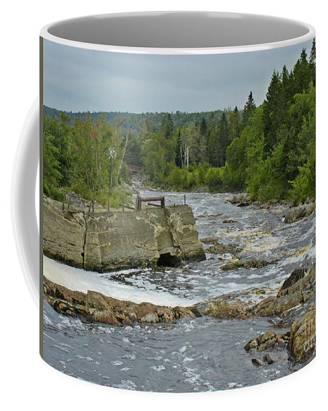 Island In The Rapids Coffee Mug featuring the photograph Old Bridge Infrastructure by John Malone