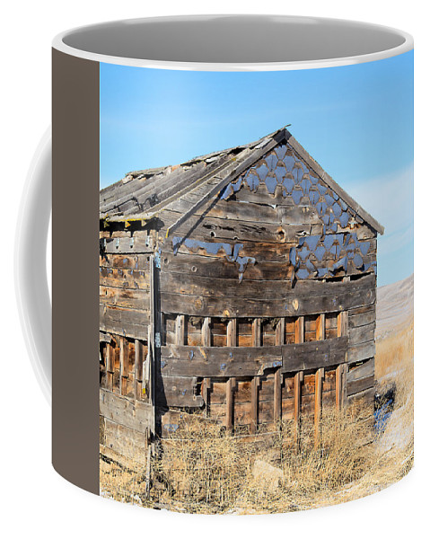 Cabin Coffee Mug featuring the photograph Old Cabin in the desert by Dart Humeston