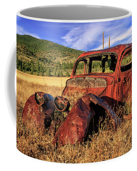 Rusty Coffee Mug featuring the photograph Old Car At Susanville Ranch by James Eddy