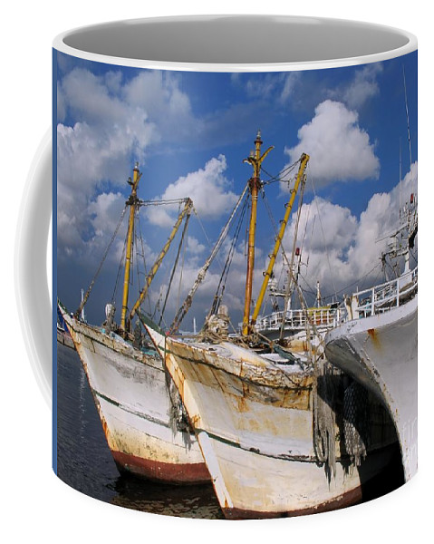 Ship Coffee Mug featuring the photograph Old Chinese Fishing Boats by Yali Shi
