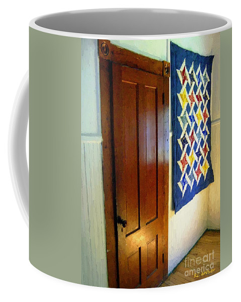 Connecticut Coffee Mug featuring the painting Old Door - New Quilt by RC DeWinter