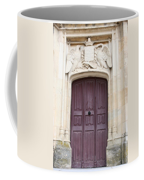 Door Coffee Mug featuring the photograph Old Door With Swan Relief by Christiane Schulze Art And Photography