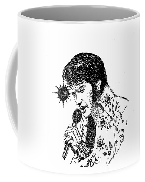 Ink Coffee Mug featuring the drawing Old Elvis by Jennifer Campbell Brewer