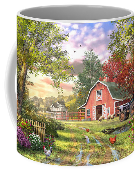 Horizontal Coffee Mug featuring the digital art Old Farm House Variant 1 by MGL Meiklejohn Graphics Licensing