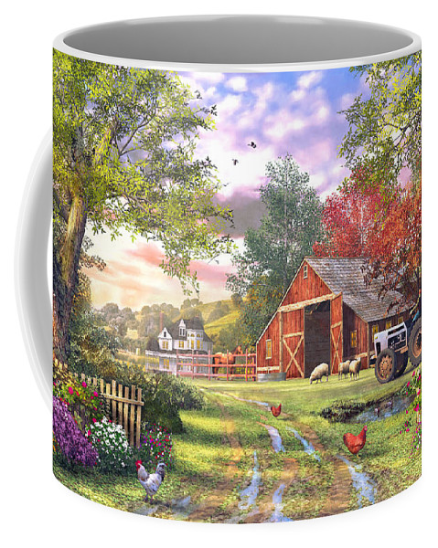 Horizontal Coffee Mug featuring the digital art Old Farmhouse by Dominic Davison