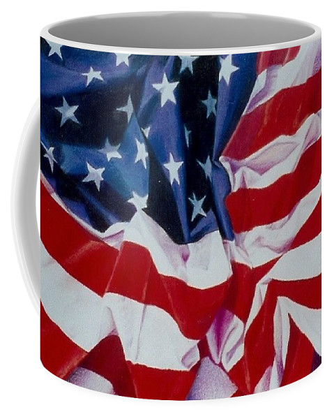 Red Coffee Mug featuring the painting Old Glory 1 by Constance Drescher