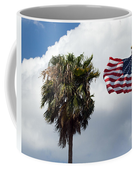 Florida; Titusville; Space; Coast; Astronauts; Astronaut; Cape; Canaveral; Mercury; Project; Freedom Coffee Mug featuring the photograph Old Glory Monument At Titusville Florida by Allan Hughes