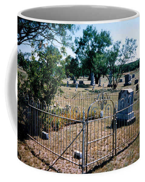 Fence Grave Headstone Stones Coffee Mug featuring the photograph Old Grave Site 2 by Cindy New