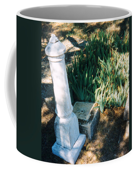 Stone Grave Iris Headstone Cementery Coffee Mug featuring the photograph Old Grave Site by Cindy New