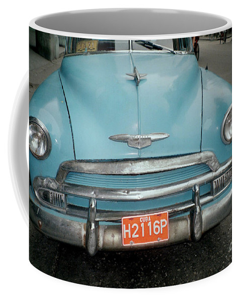 Taxi Coffee Mug featuring the photograph Old Havana Cab by Quin Sweetman