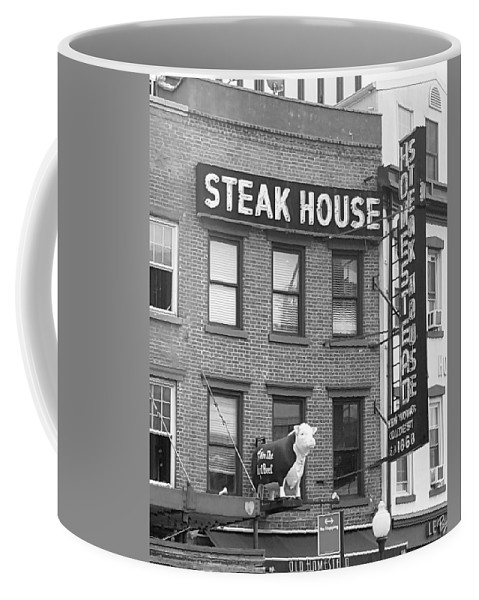 New York Landmark Coffee Mug featuring the photograph Old Homestead B W by Rob Hans