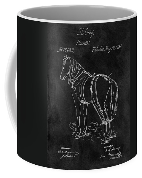 1868 Horse Harness Patent Coffee Mug featuring the drawing Old Horse Harness Patent by Dan Sproul