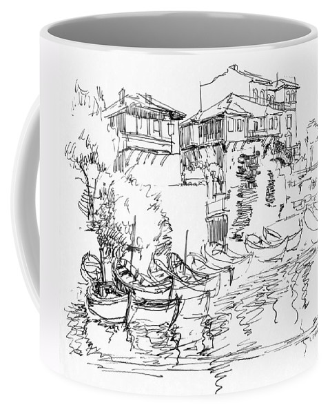 Houses Coffee Mug featuring the drawing Old Houses And Boats by Iliyan Bozhanov