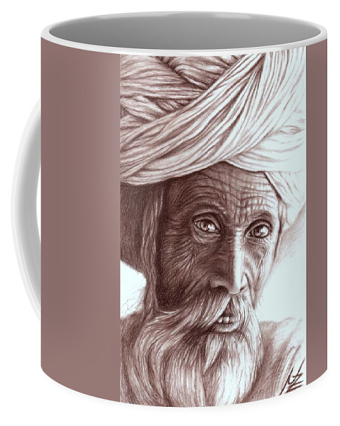 Man Coffee Mug featuring the drawing Old Indian Man by Nicole Zeug