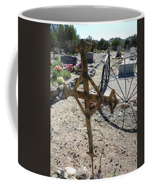 Cemetary Coffee Mug featuring the photograph Old Iron Cross by Lovina Wright
