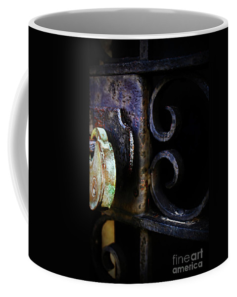 Old Coffee Mug featuring the photograph Old Lock On A Cast Iron Gate by Don Baker