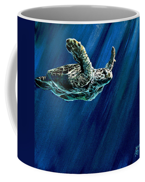 Turtle Coffee Mug featuring the painting Old Man Of The Sea by Marco Antonio Aguilar