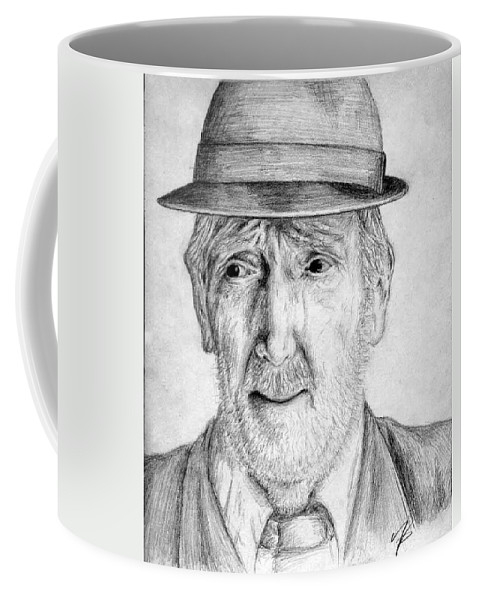 Man Coffee Mug featuring the drawing Old Man With Hat by Nicole Zeug