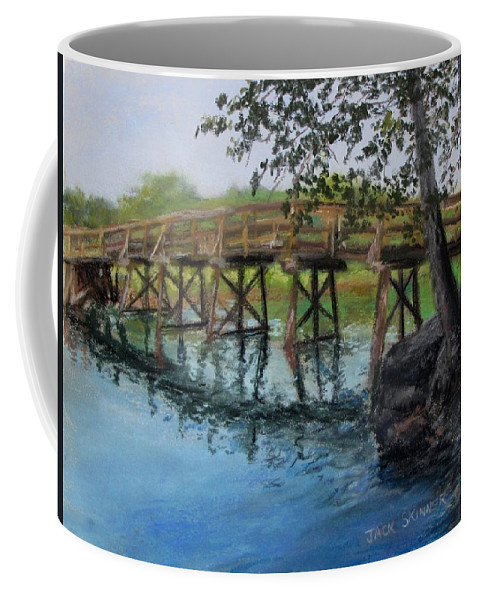 Pastel Coffee Mug featuring the painting Old North Bridge In Pastel by Jack Skinner