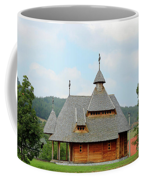 Church Coffee Mug featuring the photograph Old Orthodox Wooden Church On Hill by Goce Risteski