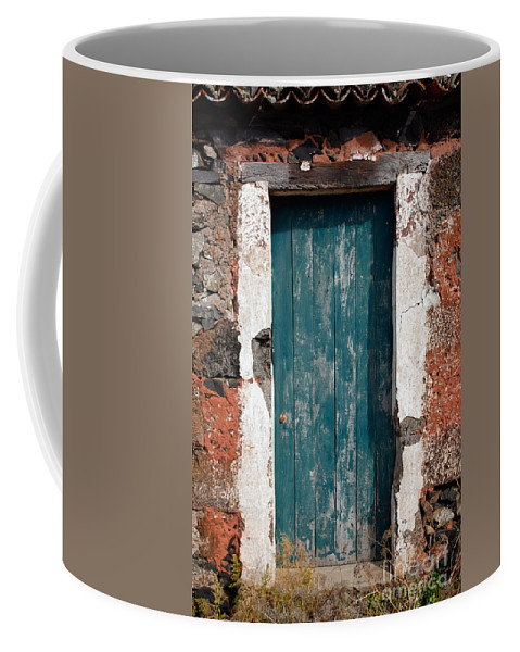 Abandoned Coffee Mug featuring the photograph Old Painted Door by Gaspar Avila