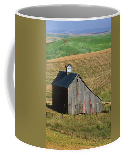 Palouse Coffee Mug featuring the photograph Old Palouse Barn by Sandra Bronstein