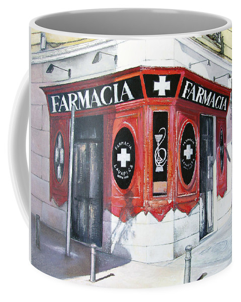 Pharmacy Coffee Mug featuring the painting Old Pharmacy by Tomas Castano