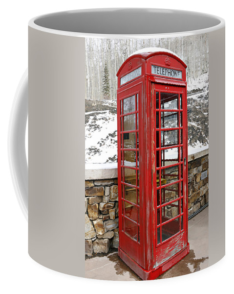 Communication Coffee Mug featuring the photograph Old Phone Booth by Marilyn Hunt
