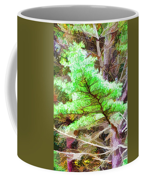 Old Pine Tree Coffee Mug featuring the painting Old Pine Tree 1 by Jeelan Clark