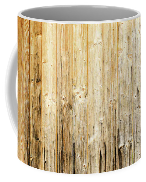 Wood Coffee Mug featuring the photograph Old Planked Wood Used As Background by Peter Hermes Furian