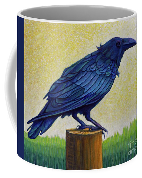 Raven Coffee Mug featuring the painting Old Priest In Passion by Brian Commerford