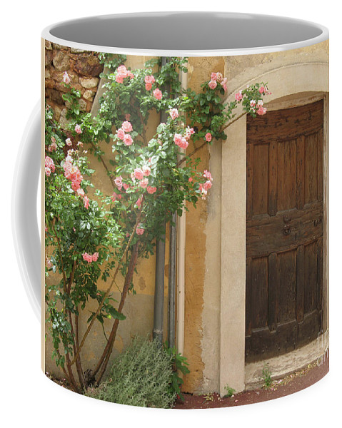 Village Coffee Mug featuring the photograph Old Provence Door And Rose Tree by Christiane Schulze Art And Photography