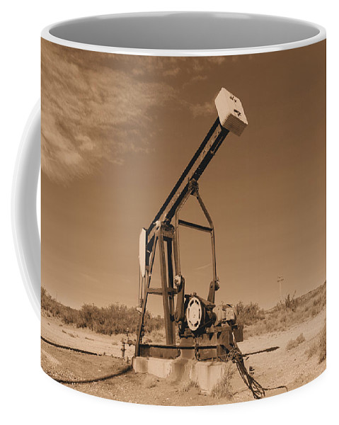 Oil Coffee Mug featuring the photograph Old Pumpjack Artesia New Mexico by Jeff Swan