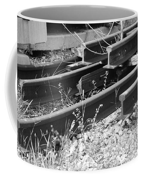 Black And White Coffee Mug featuring the photograph Old Rails by Rob Hans