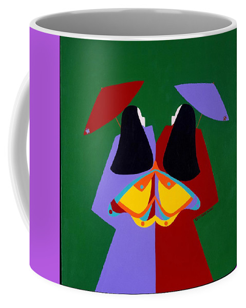 Asian Coffee Mug featuring the painting Old Same by Synthia SAINT JAMES