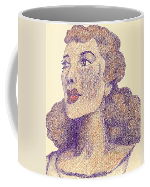 Woman Coffee Mug featuring the drawing Old School Hollywood by Jean Haynes