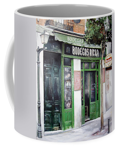 Bodegas Coffee Mug featuring the painting Old Tavern-madrid by Tomas Castano