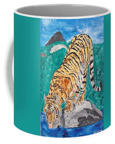 Cat Coffee Mug featuring the painting Old Tiger Drinking by Valerie Ornstein